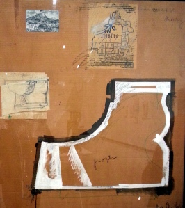 Claes Odenburg - Profile Study of Toilet Base - Compared to a Map of Detroit & Mt. Sainte Victoire by Cezanne, 1966